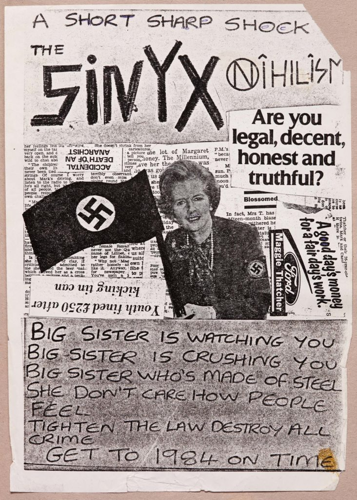 a handmade flyer with newspaper cutouts and Margaret Thatcher with a swastika flag