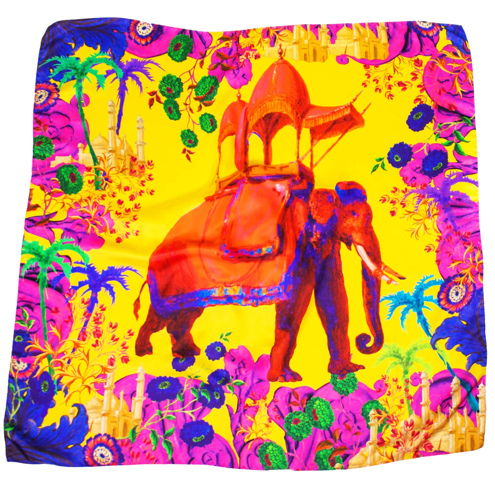 photograph of yellow scarf with multicoloured floral design, elephant at centre