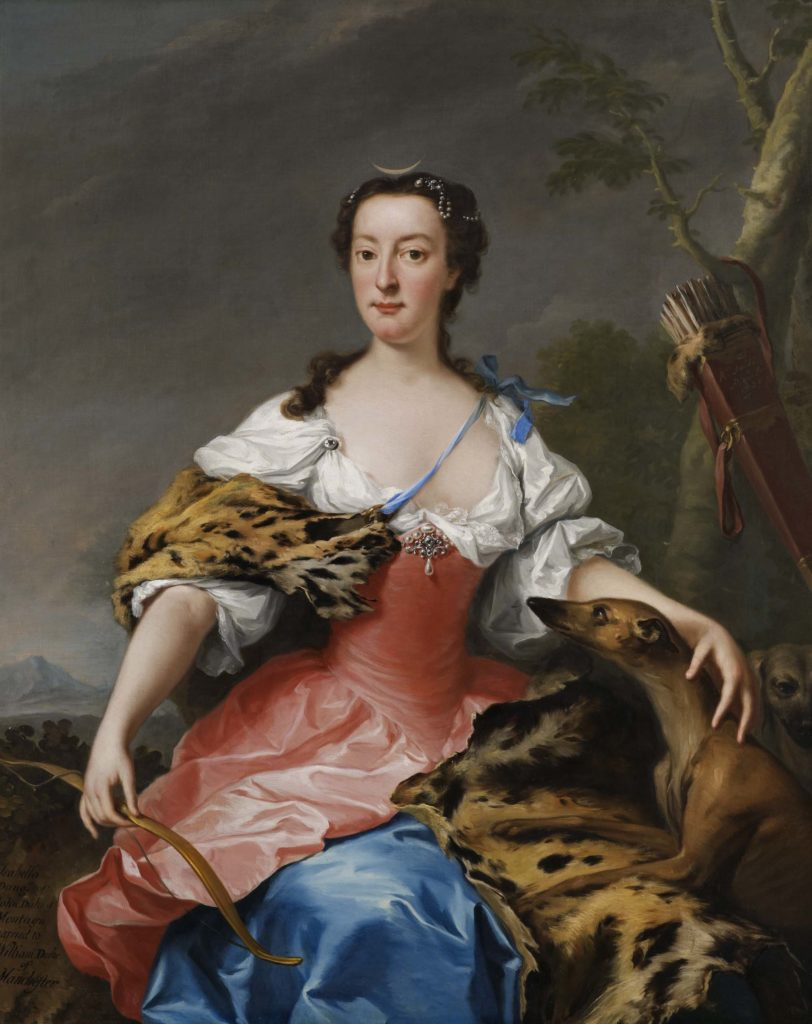oil portrait of Georgian lady with her hand resting on a dog