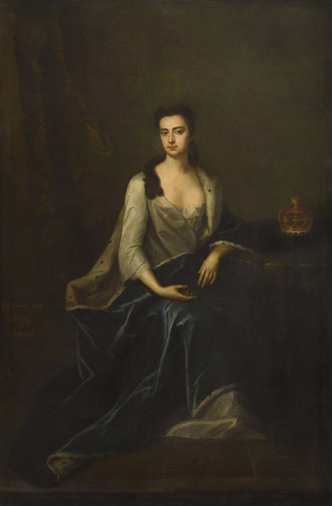 a painting of a Georgian lady in a silk dress
