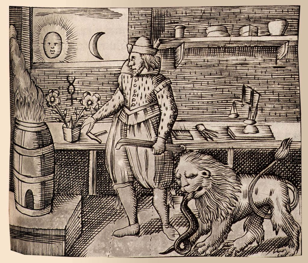 a print from an old book with a man in medieval garb in his lab with a lion creature eating a serpent at his feet