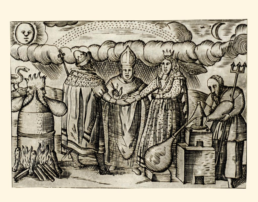 a drawing from a manuscript showiinbg clerical figures and alchemists