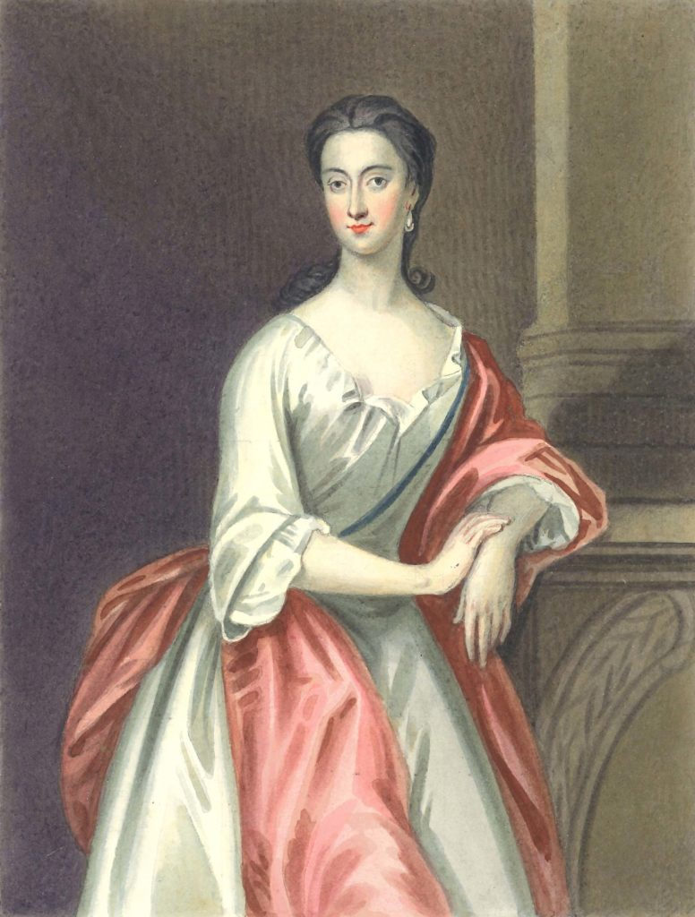 a painted portrait of a Georgian lady leaning on a mantelpiece