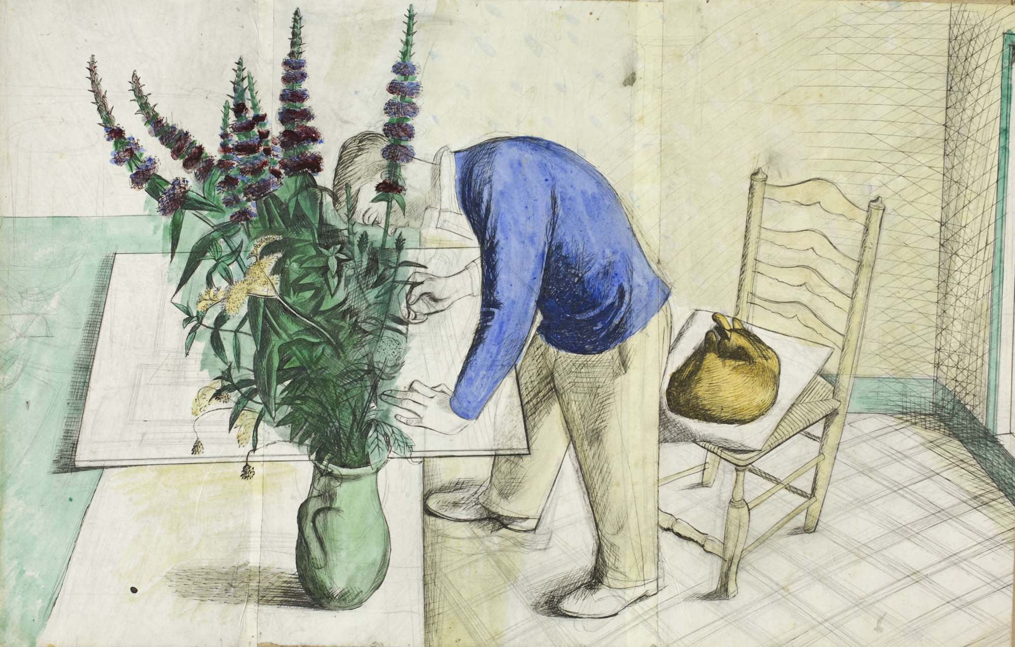 a painting of a young man leaning over a table to work on a print