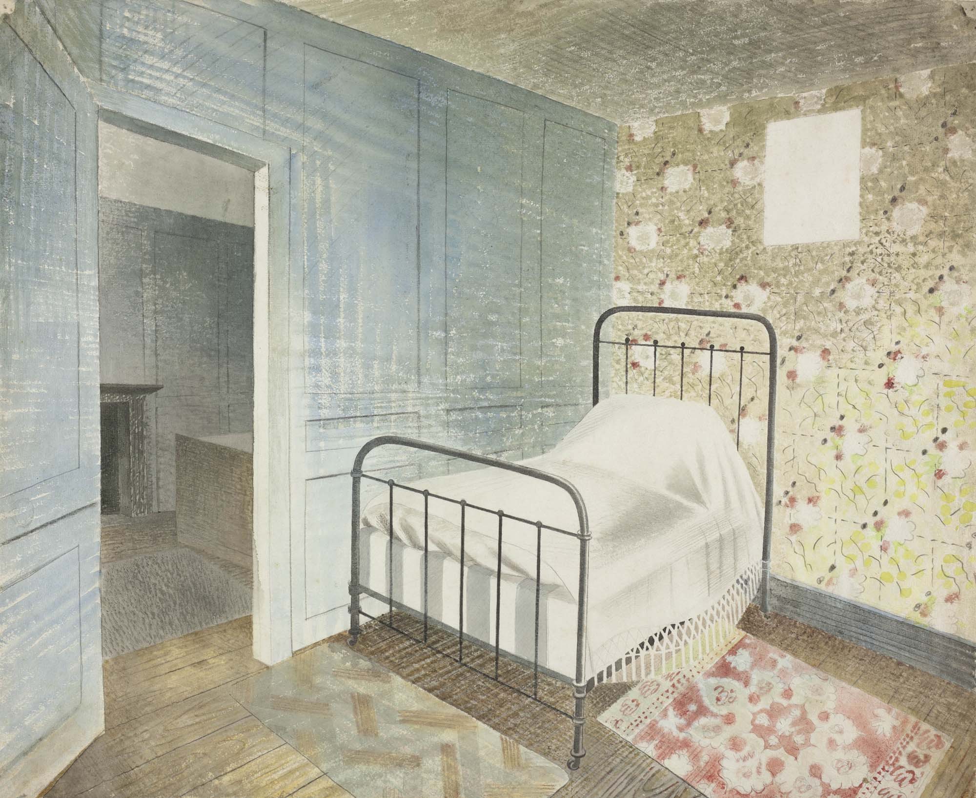 a painth of a solitary single iron framed bed in a bedroom