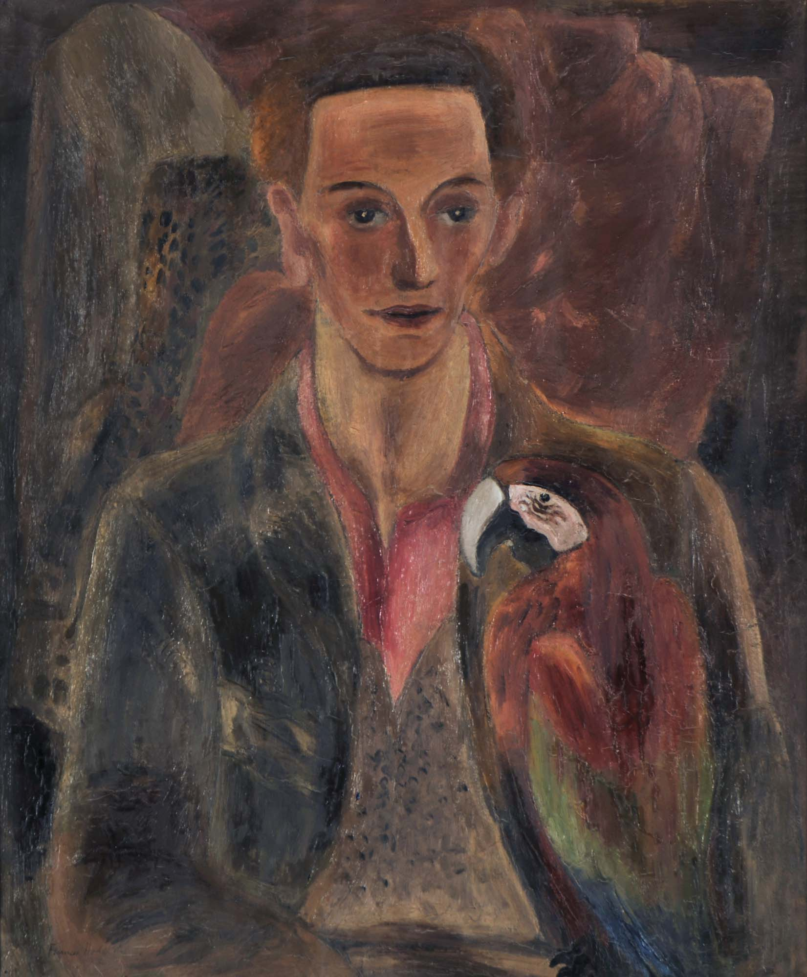 a painted portrait of man in a jacket and pink shirt holding a parrot