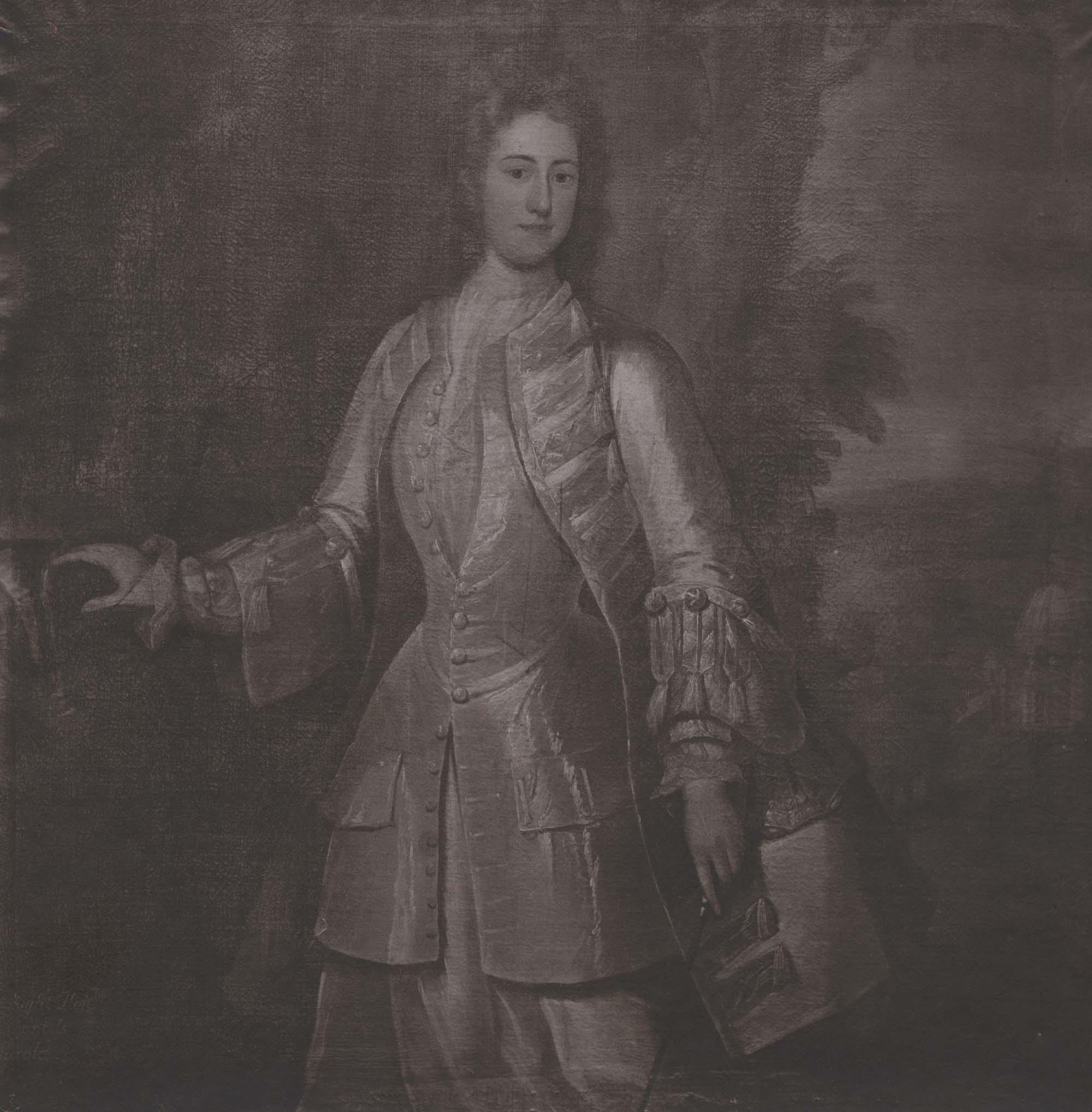 a sepia print of a Georgian period lady