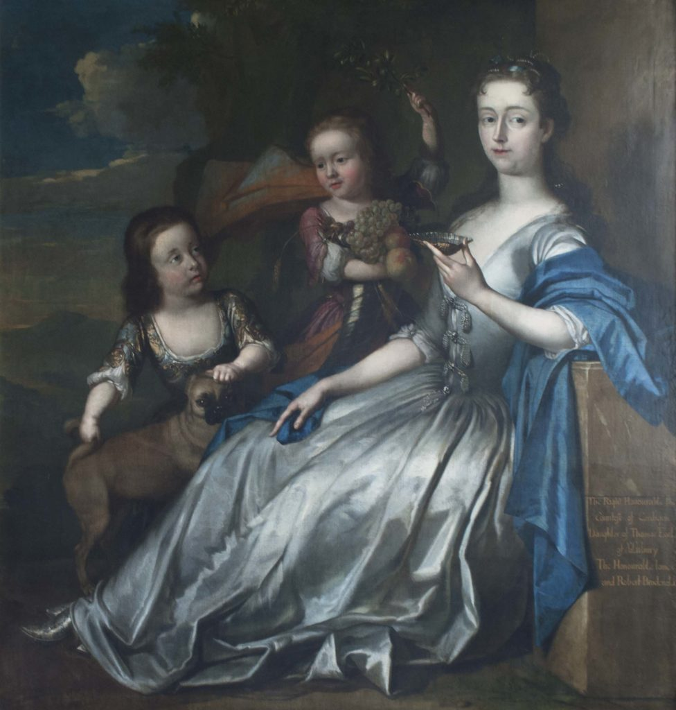 a painting of a pale and haughty looking aristocratic lady with her children