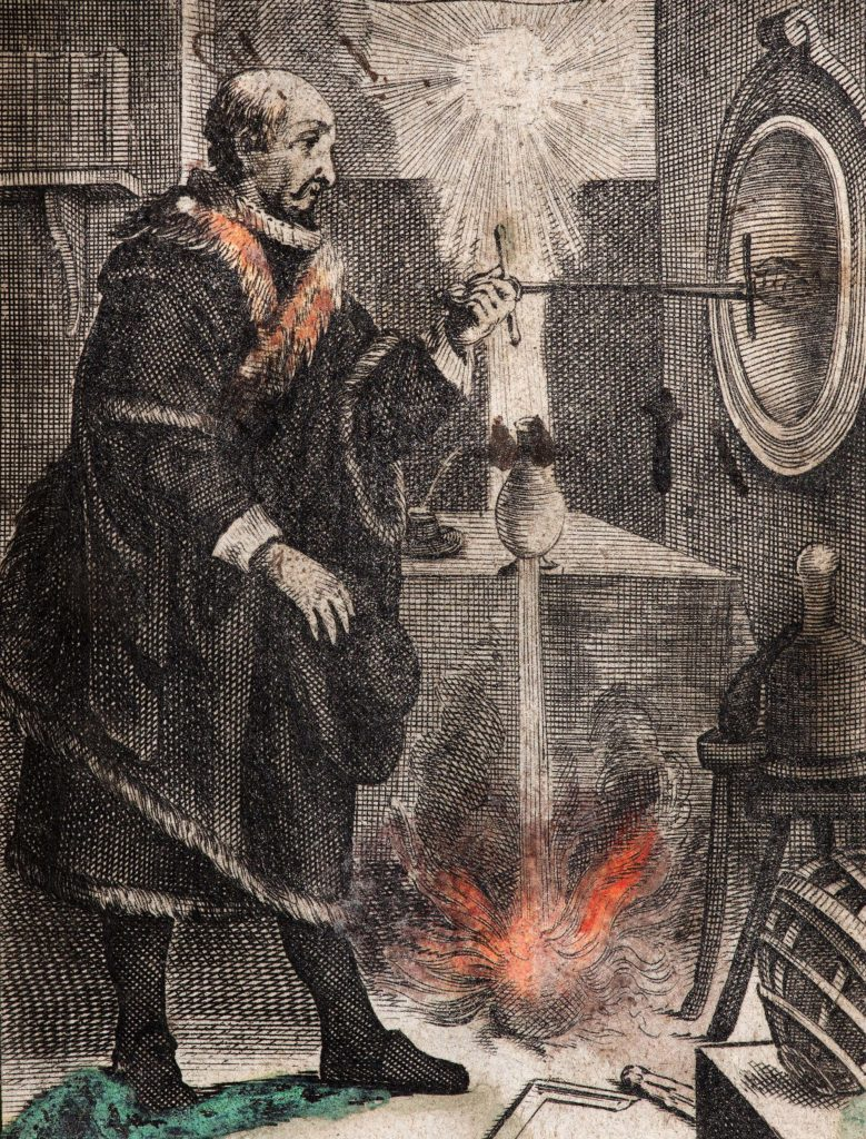 an illustration of a man making fire in an alchemic sort of fashion
