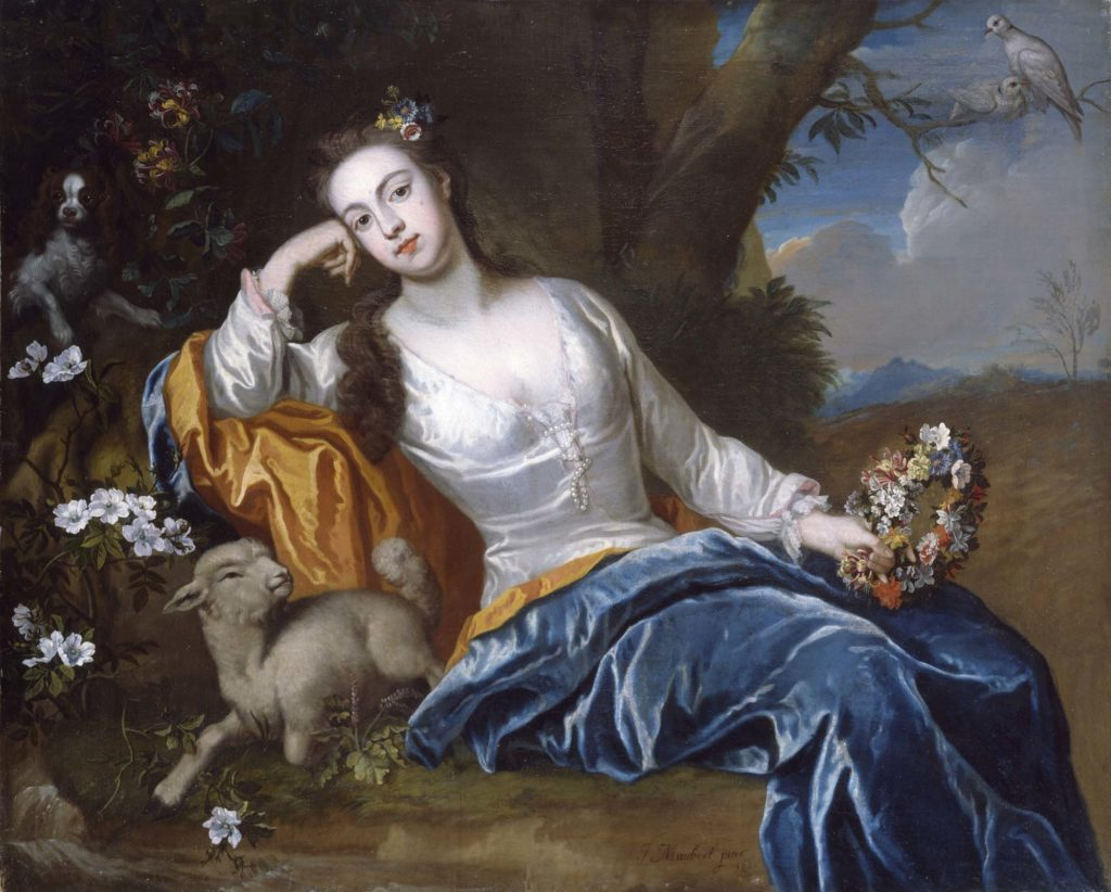 An oil painting, a three quarter length portrait of a seated woman wearing a blue and white dress. Sitting in a landscape, under a tree with a dog and lamb, holding a flower garland in her left hand, her head resting on her right hand.