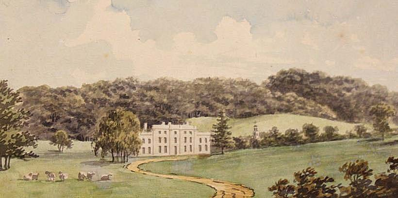 a watercooloour of a country park with country house in the distance