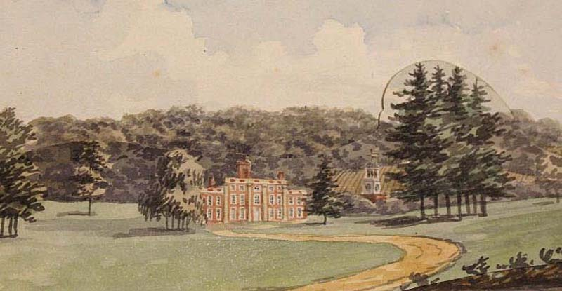 a watercolour drawing of a country park landscape with house in the distance