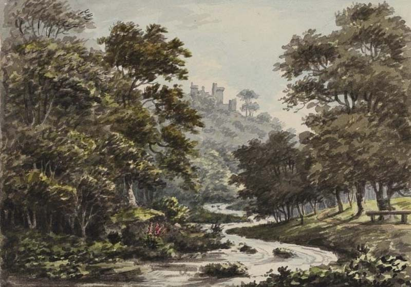 a watercolour of a river winding through a woodland and fields