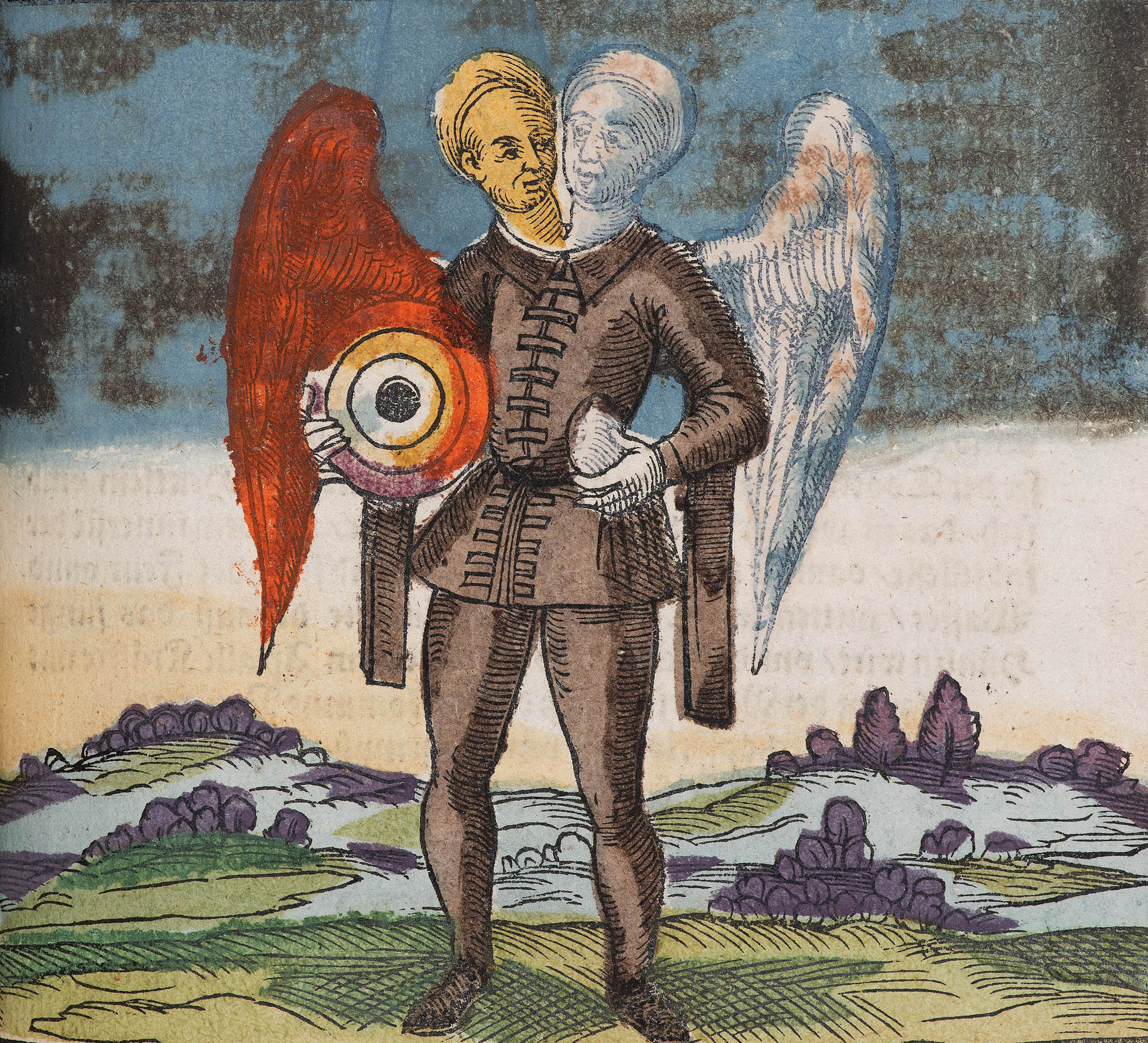 a book illustration of a two headed person with wings