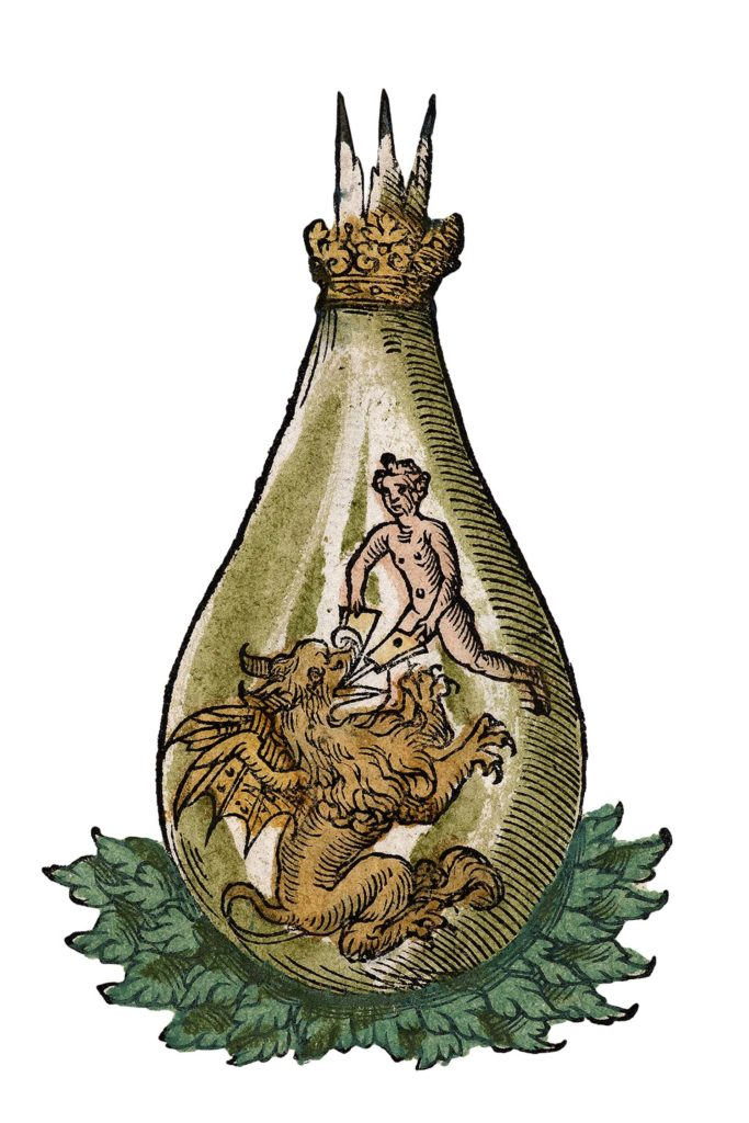 an illustration showing a bottle with a man and dragon inside