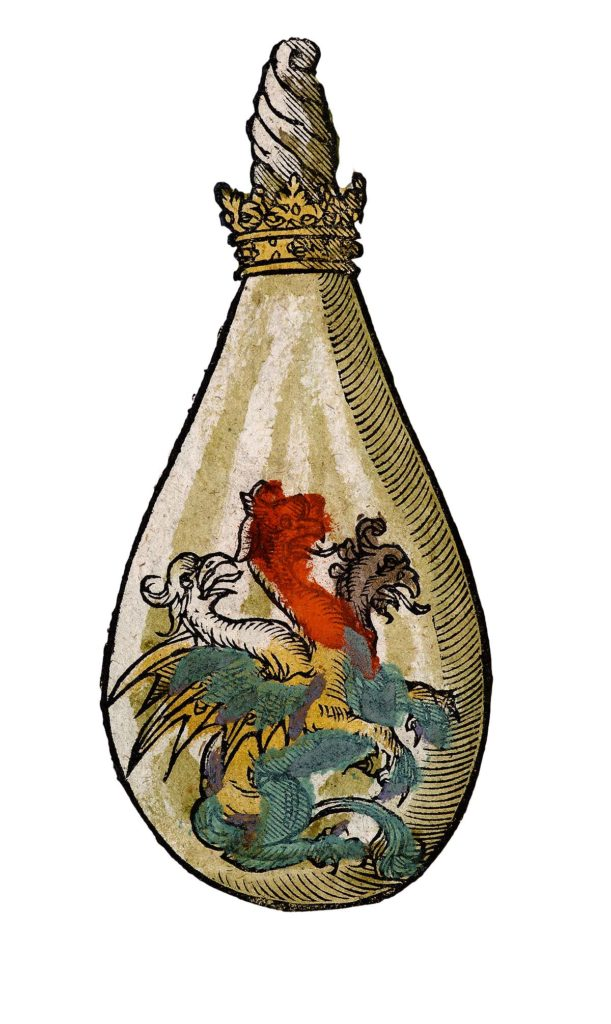 a drawing of a dragon creature inside a glass bottle