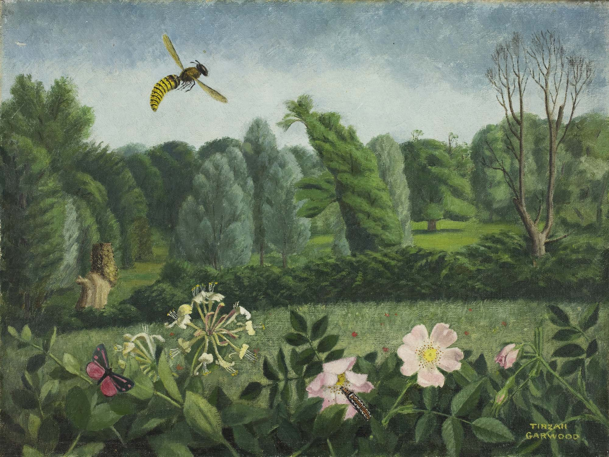 a painting of a hornet flying over the top of roses with tress and fields in the background