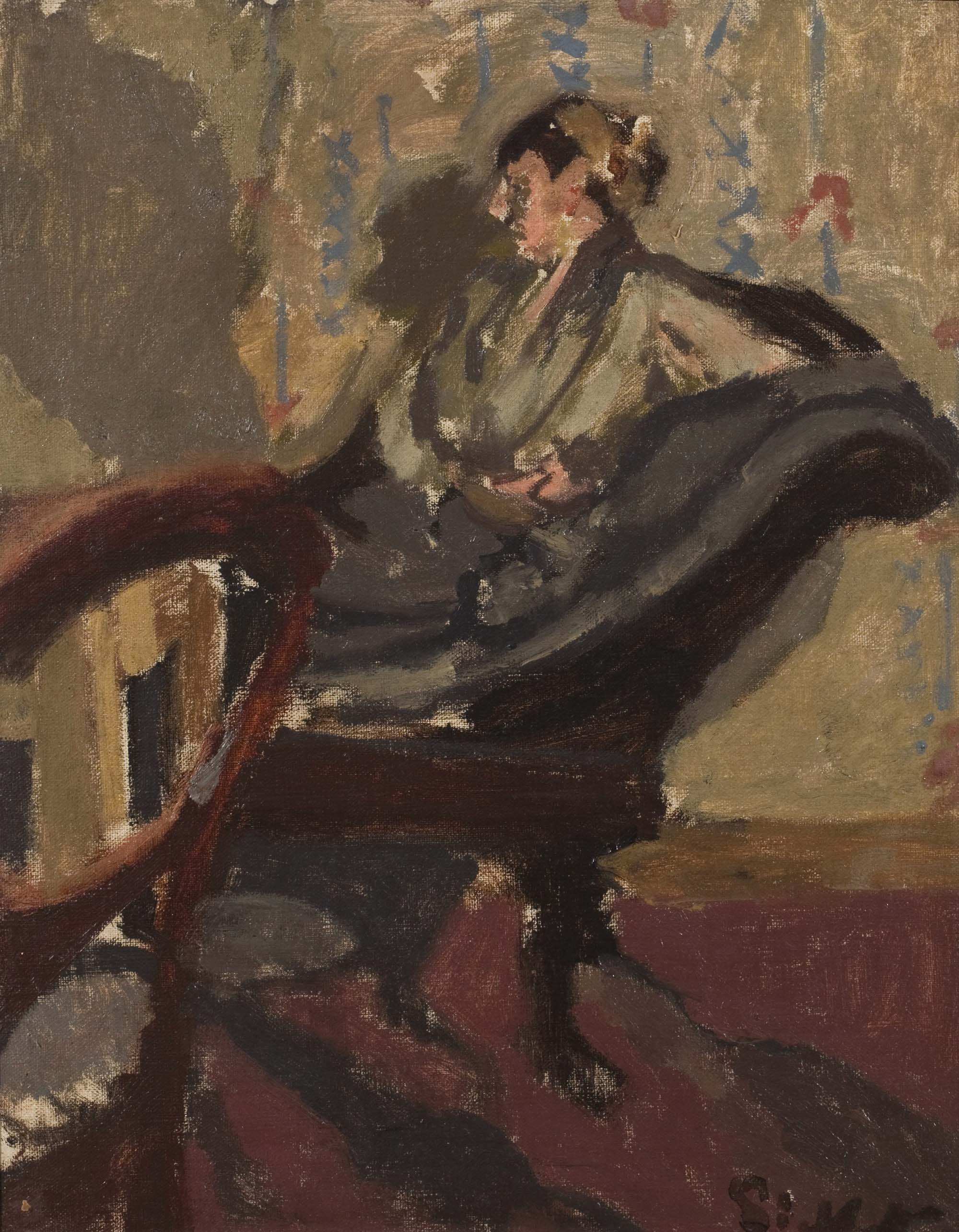 a paomth of a woman in a room with brown flocked wallpaper reclining on a sofa