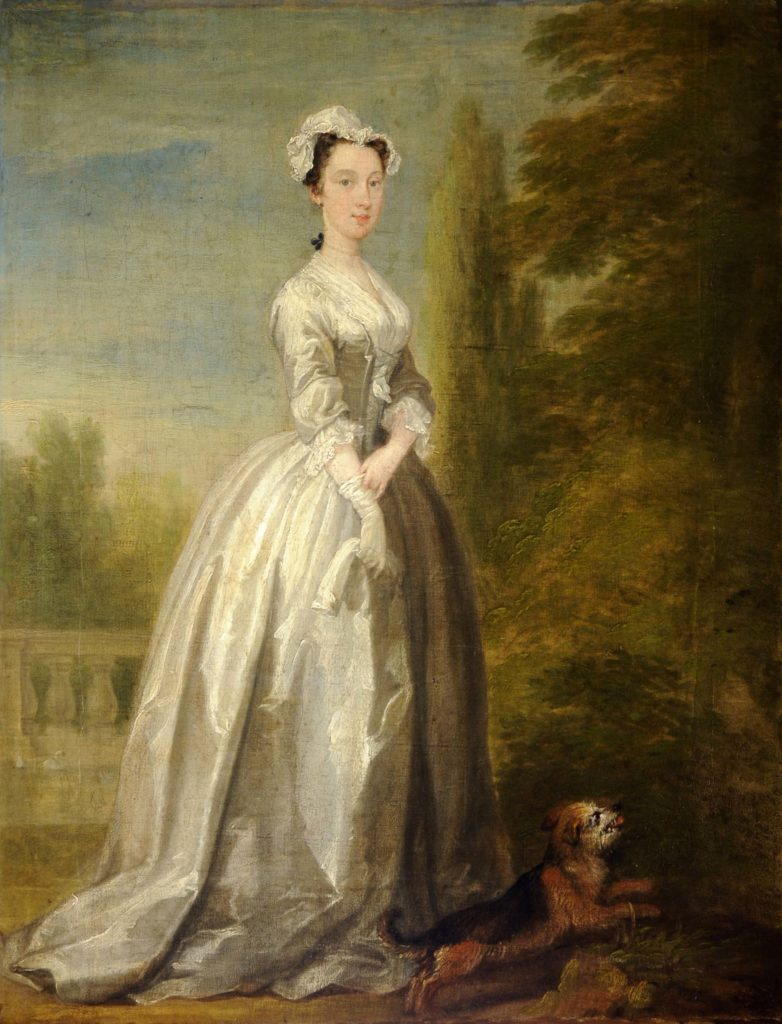 a painting of a Georgian lady in a silk dress and bonnet