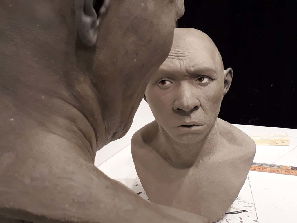 a photo of two clay heads in production in a studio