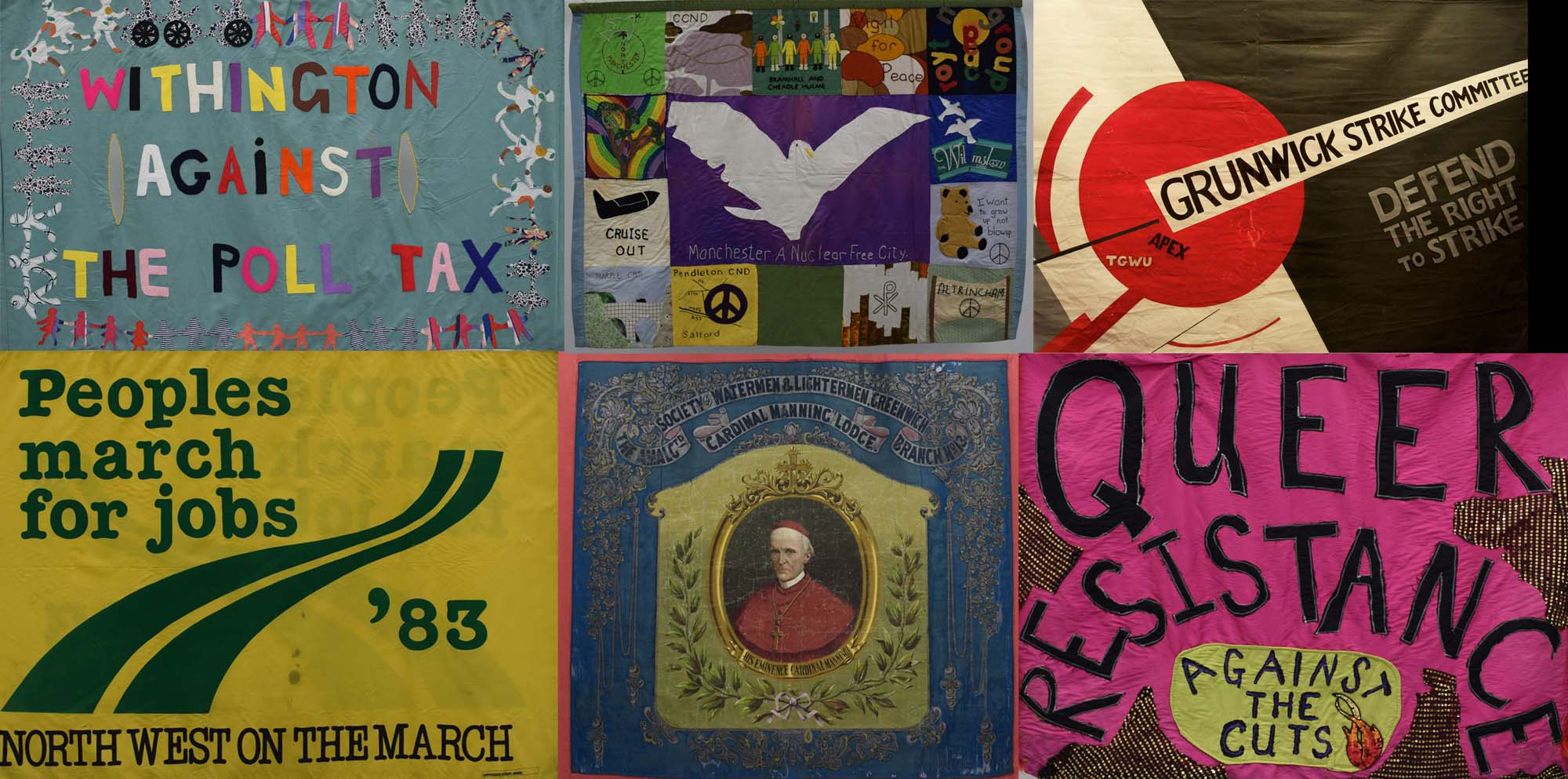 a composite picture showing six preotes banners from the collection of the People's History Museum
