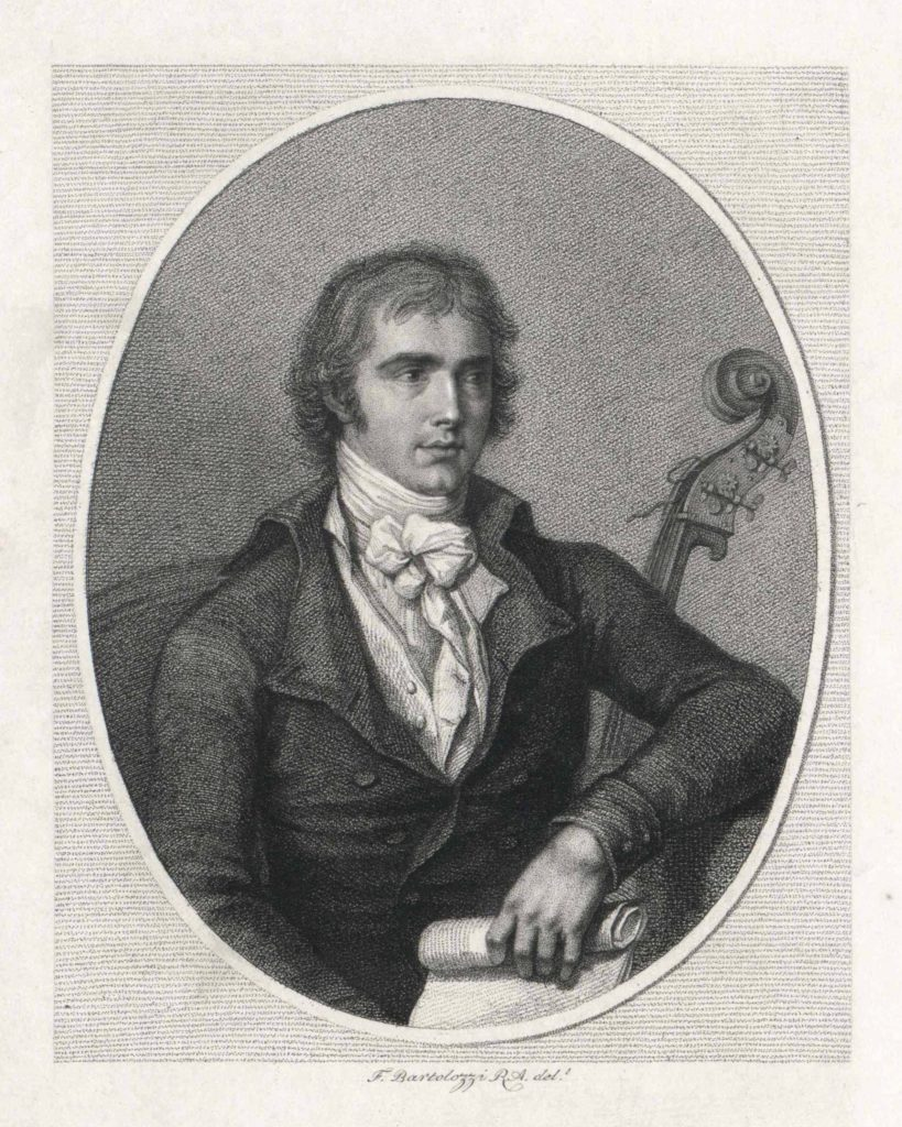 an engraving of a young man with shoulder length hair and a double bass behind him