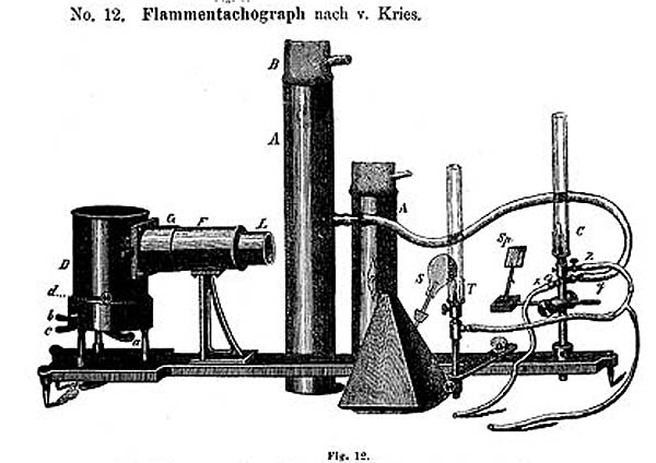 a black and white drawing of a scientific piec of apparatus made of brass and metal cylinders and tubes