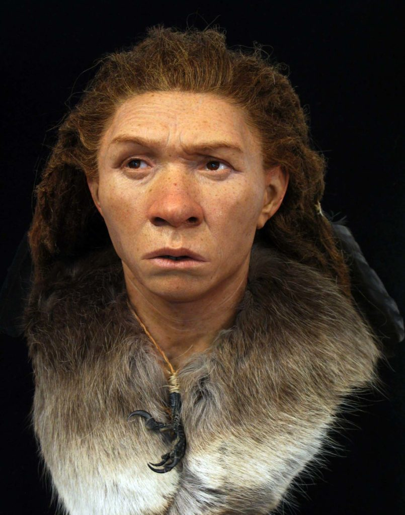 a photo of a recreated neanderthal woman
