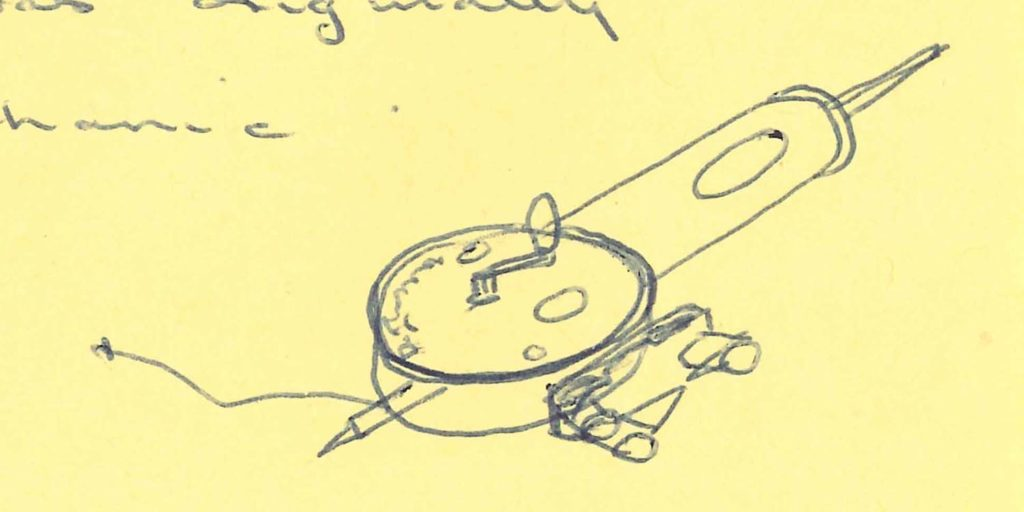 a sketch of an instrument with a round dial