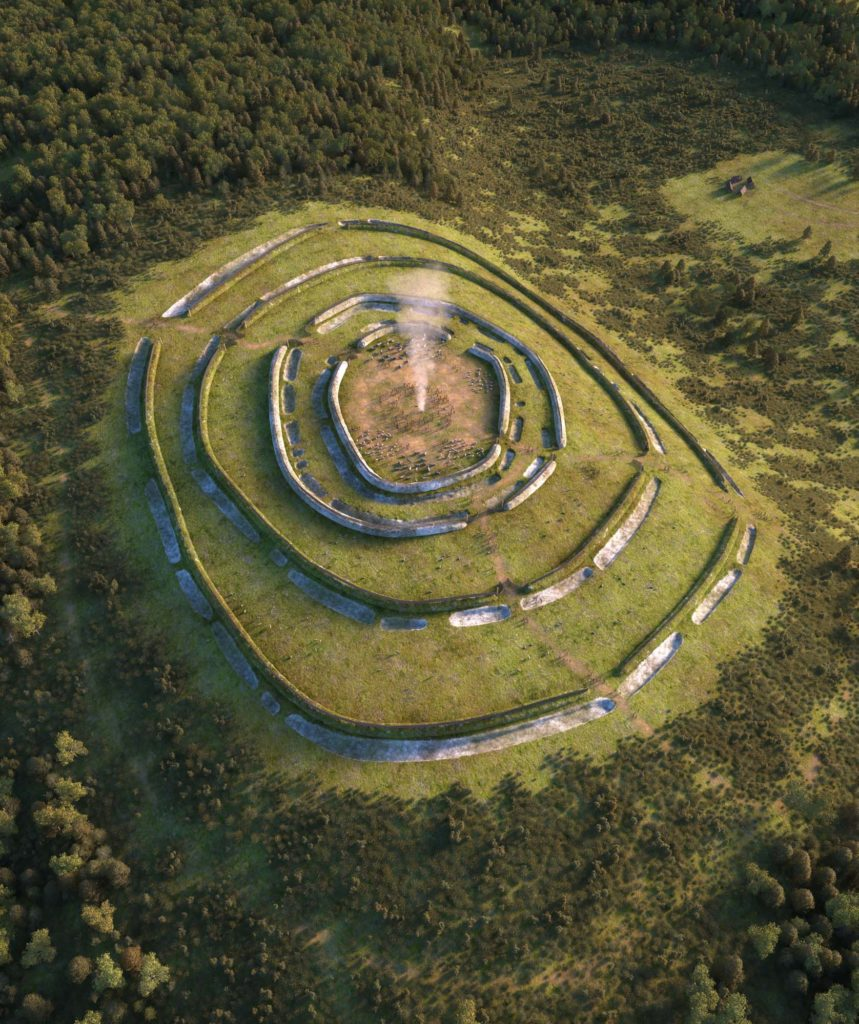 an recreated aerial view of a hill fort with concentric walls