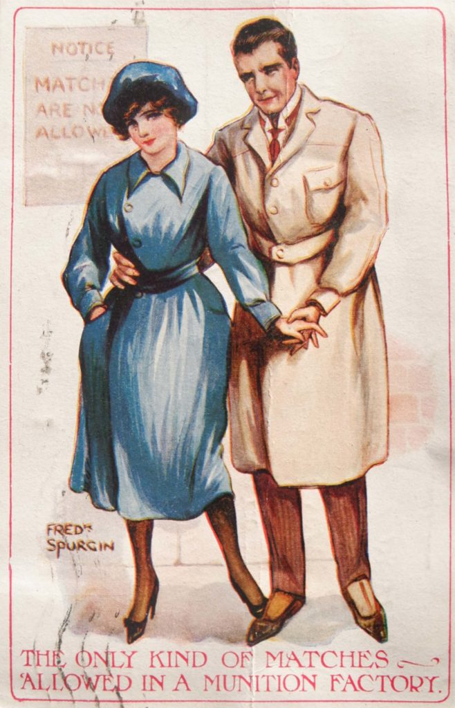 a postcard depicting a man and woman and the words the only kind of matches allowed in a munitions factory