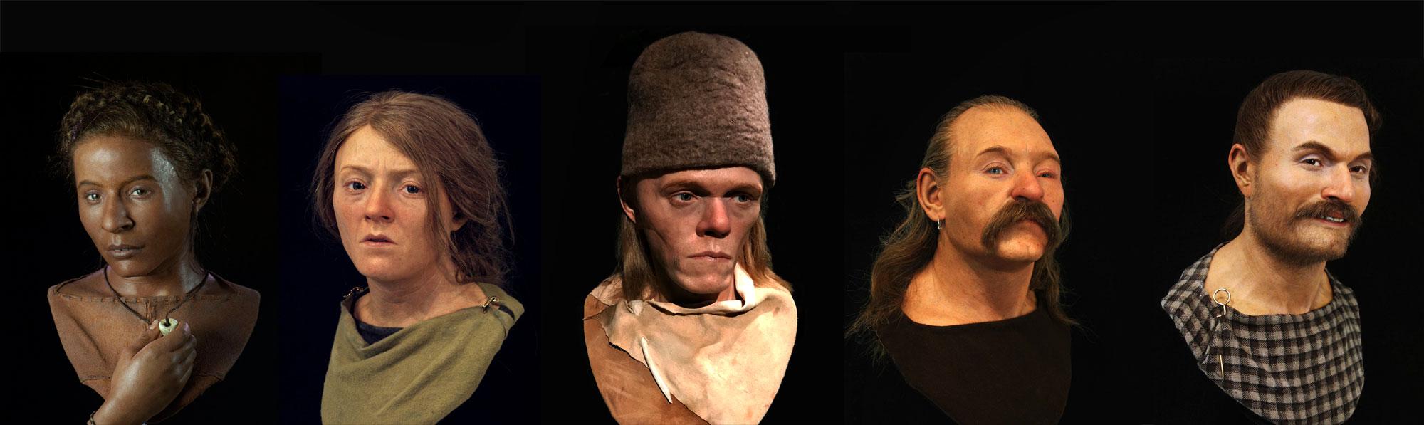 composite image showing five facial reconstruction models