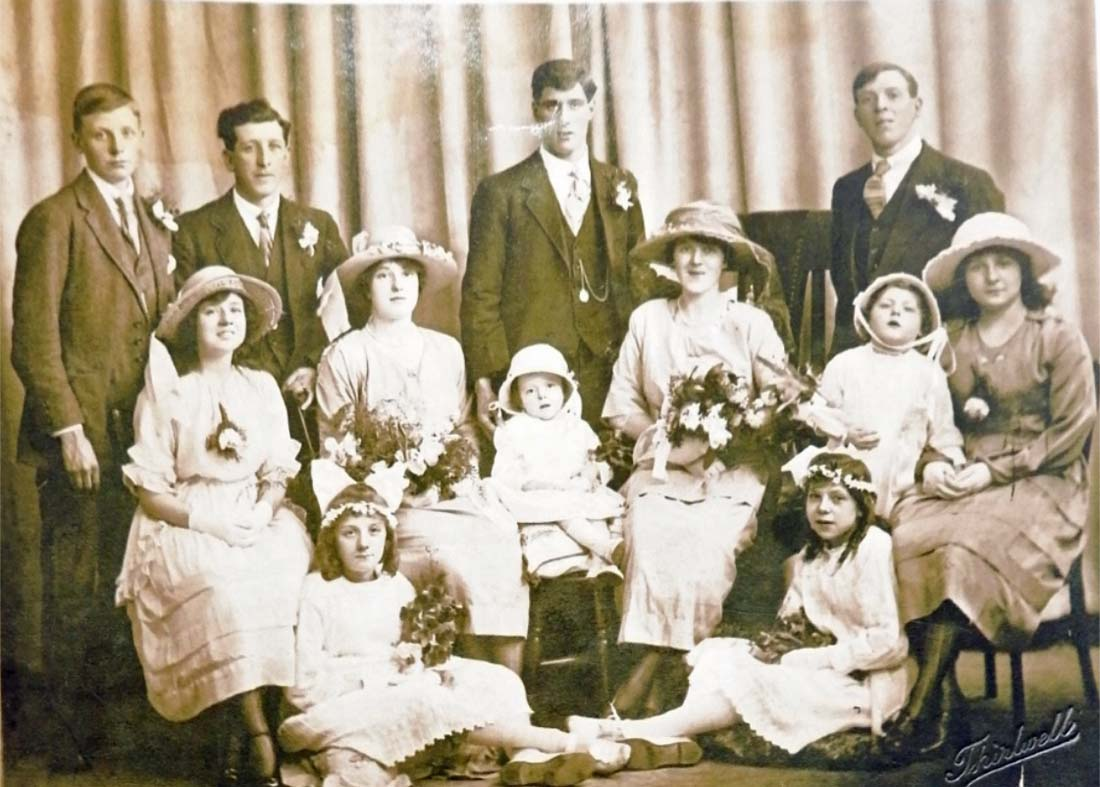 a large group family wedding portrait