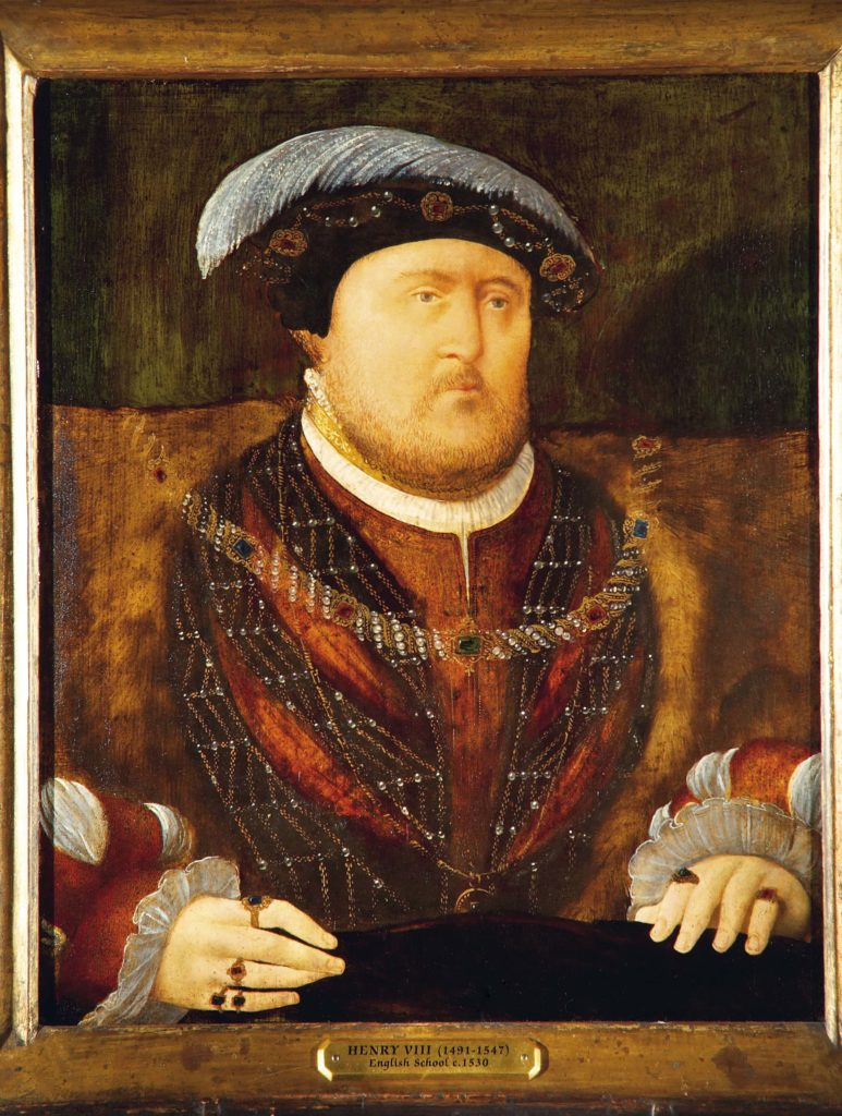 a painted portrait of Henry VIII in familiar garb