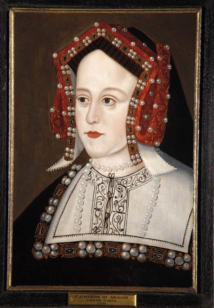 a painted portrait of a Tudor lady with Tudor style bonnet