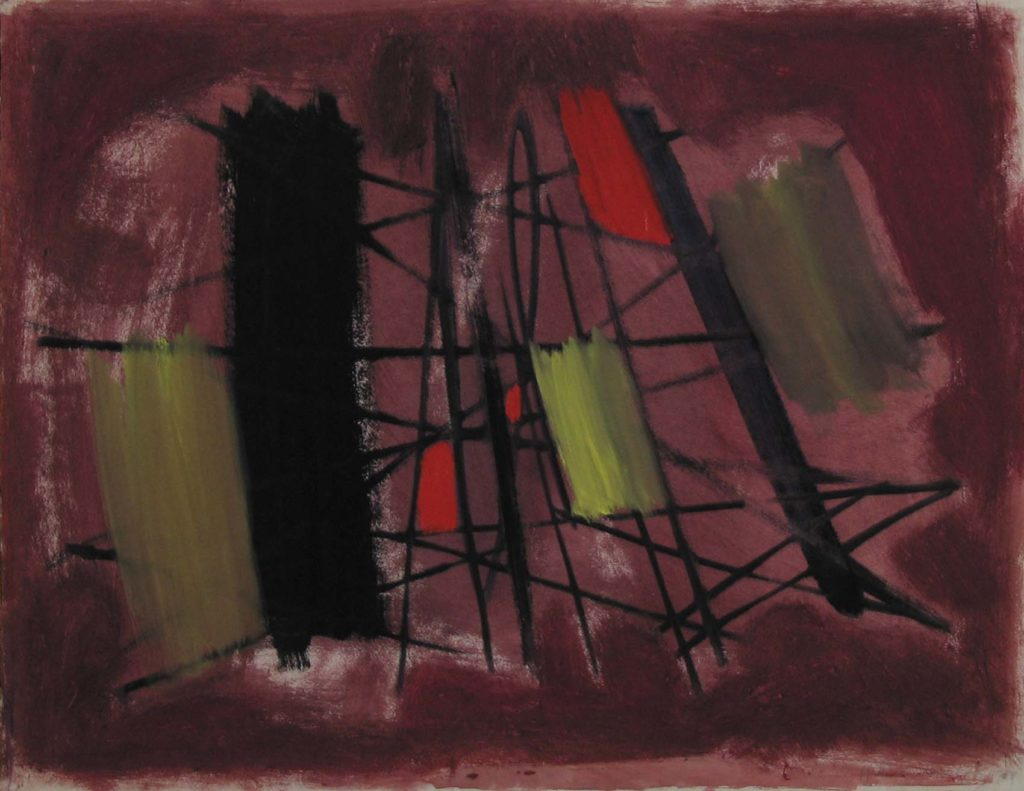 an abstract painting in dark purple, red and black