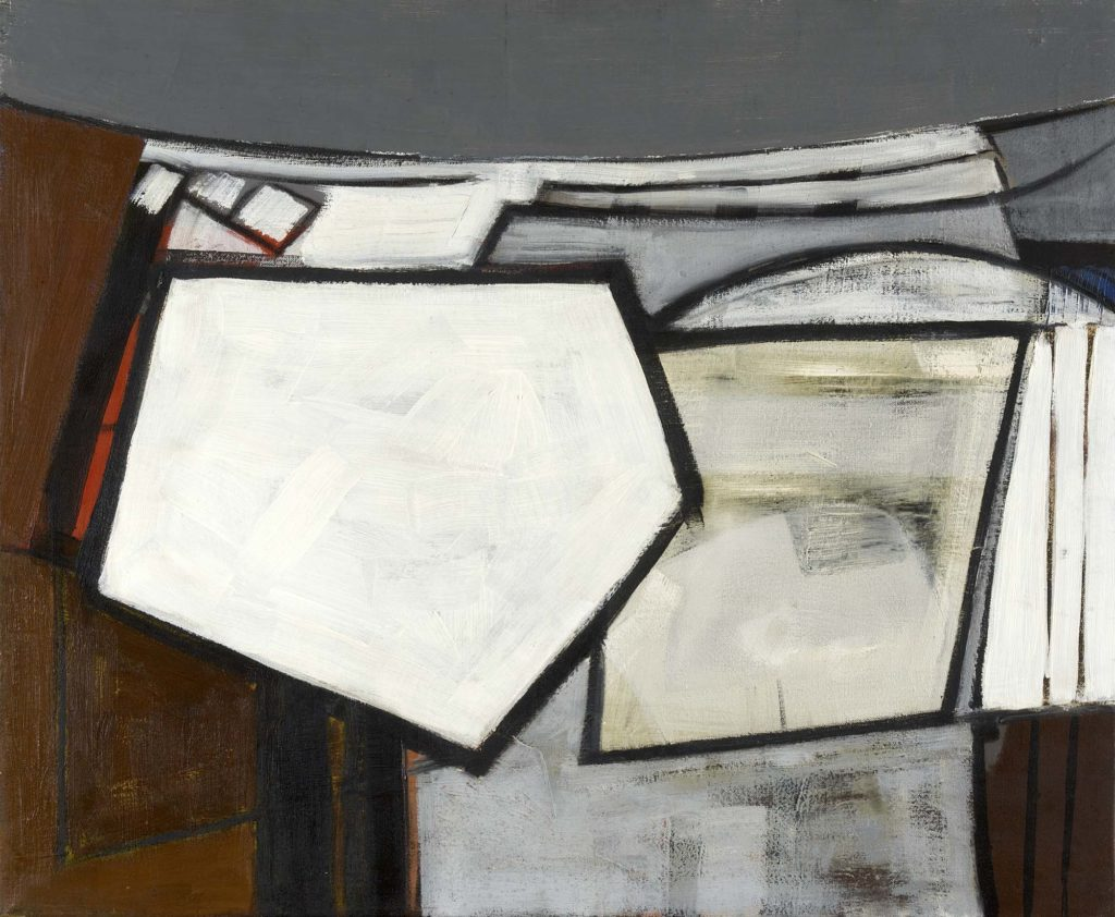 a painting of abstract shapes in grey and white resembling snow covered fields