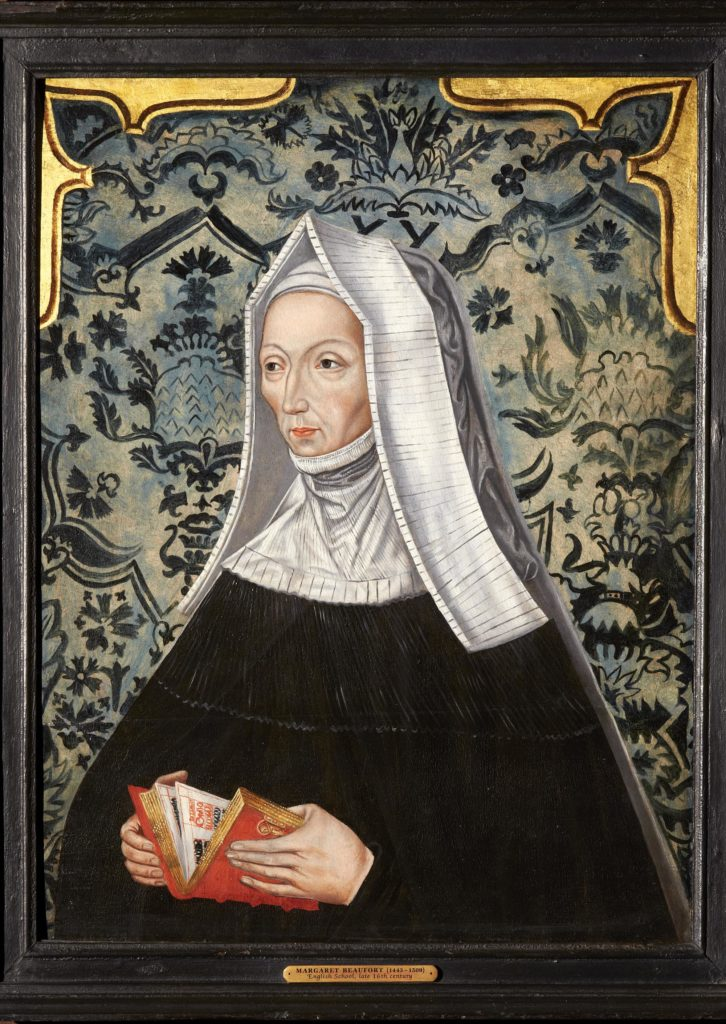 a painted portrait of a Tudor lady with a nun's habit