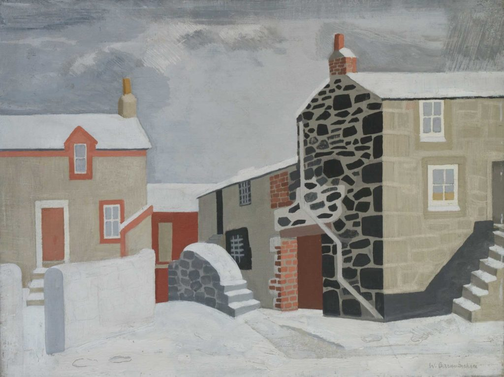 a panting of snow covered terraced cottages