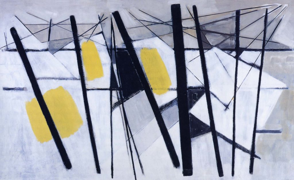a painitng made up of abstract shapes of red and black with rods against a snow like background