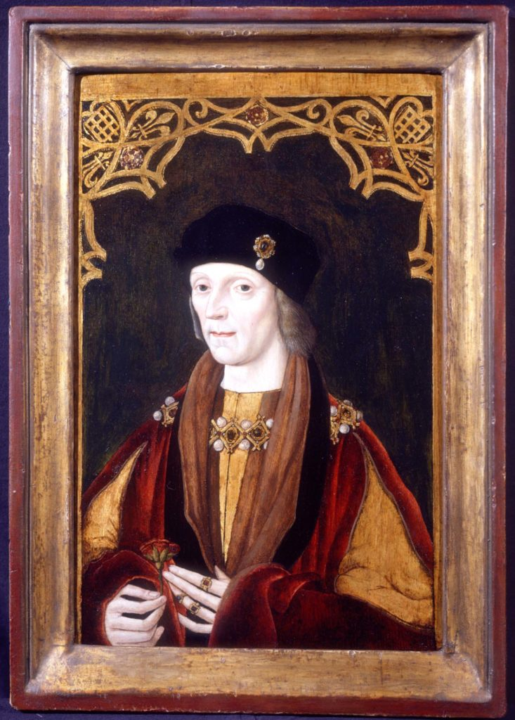 a painted portrait of an early Tudor Royal with ermine scarf and black hat