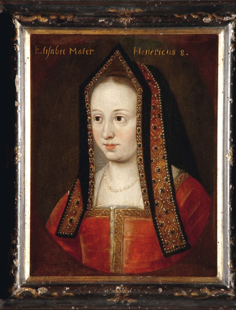 a painted pprtriat of a Tudor lady with red dress and headdress