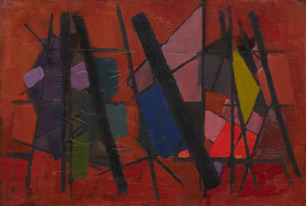 an abstract painting with square shapes and lines against a red background