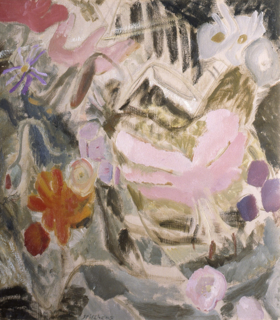 a semi abstract painting of pink flowers