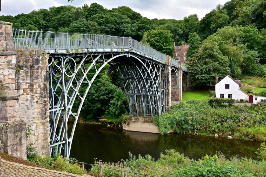 photograph of iron bridge spanning a canal
