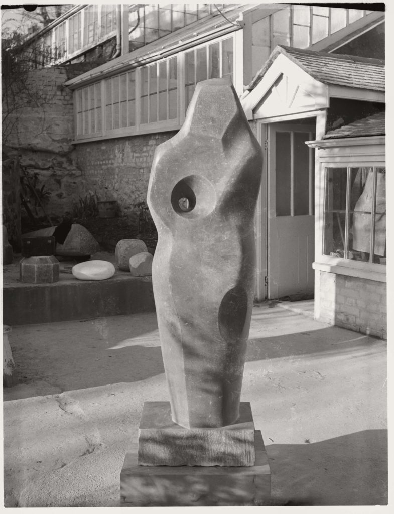 back and white photo of an abstract figurative sculpture