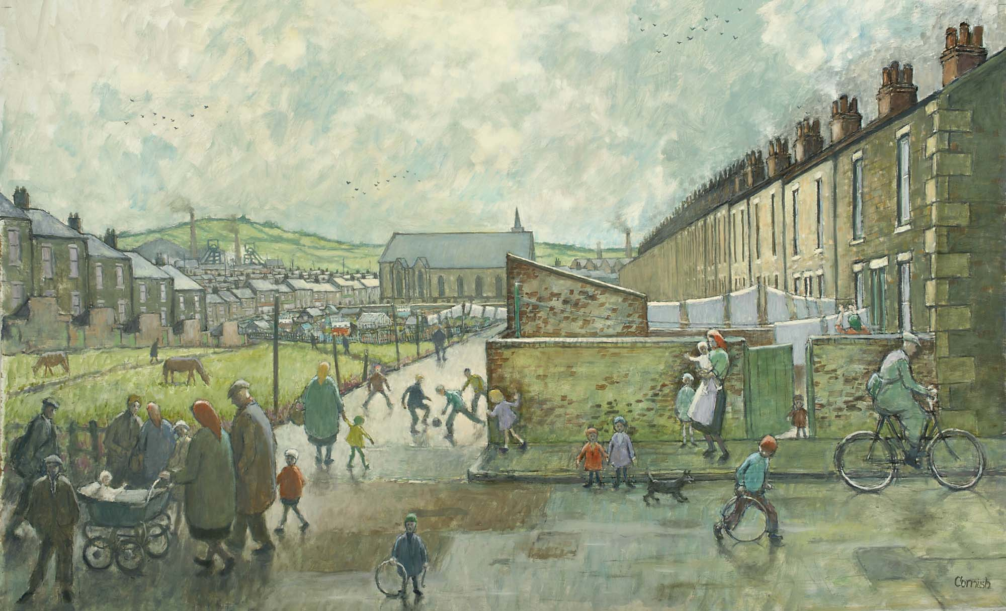 a painting of terraced houses and communal park ares thronged with children and their parents