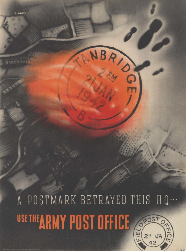 a poster with a red postmark that is red and overlaid onto an aerial map with bombs raining down onto it