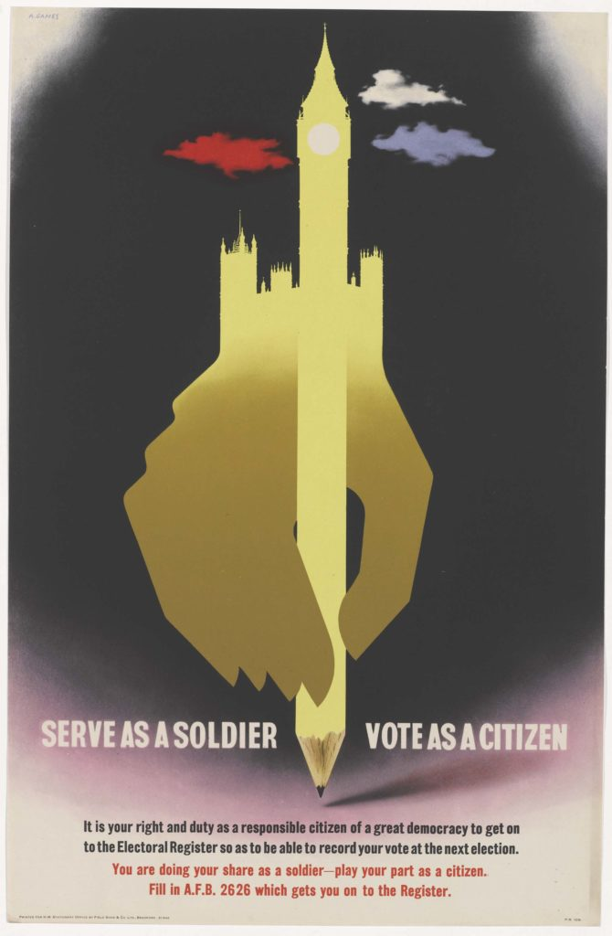 a poster with a hand holding a pencil morphing into an image of the House of Commons