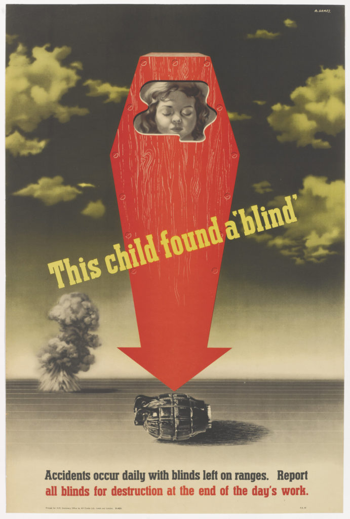 a poster with an organge coffin with a young child's face visible at the top in an arrow shape pointing towards a discarded hand grenade on the ground